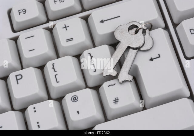 Keys on a PC / personal computer keyboad - as a visual metaphor for data security and access permissions. - Stock Image