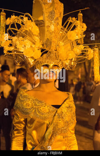 Beautiful masks in Carnival in Havana, Cuba - Stock Image