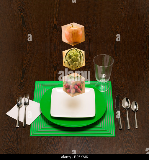 floating food blocks to show the building blocks of your diet. - Stock Image