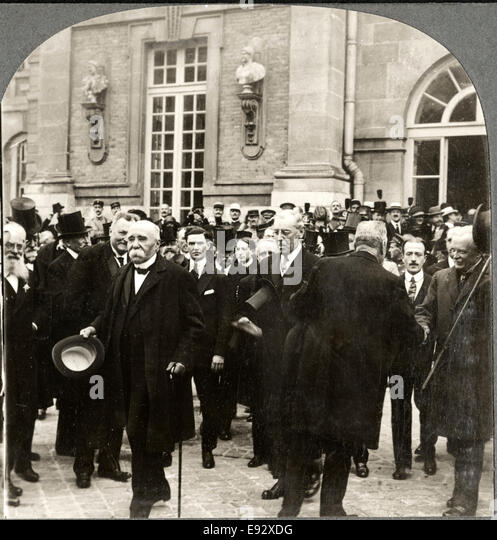 Georges Clemenceau, Woodrow Wilson, & David Lloyd George, Leaving Palace of Versailles during Peace Treaty, - Stock Image