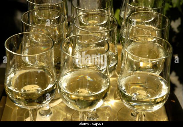 Switzerland white wine  glasses - Stock Image