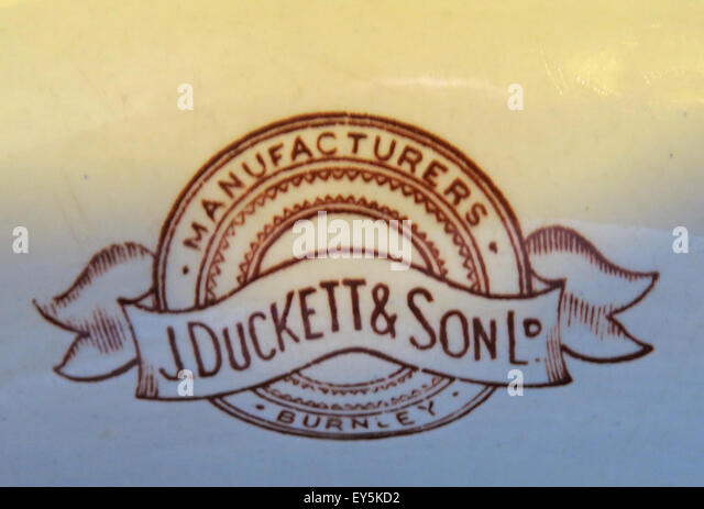 J Duckett & son Ltd Burnley Manufacturers Vitreous Ceramics China Urinal in the Sportsman Pub, Huddersfield, - Stock Image