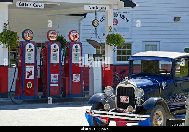 Old petrol station. Gustavus. Glacier Bay. Alaska. USA - Stock Image