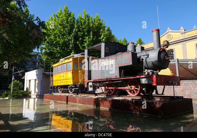 old fashioned train outside Salou railway station - Stock Image