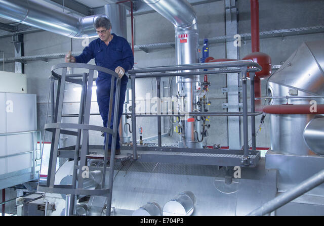 Engineer inspecting on stairs of access platform in power station - Stock-Bilder