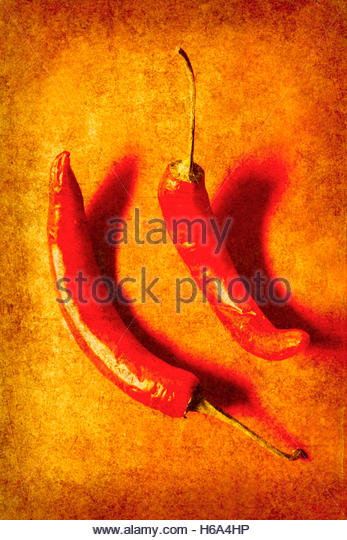 Vintage poster art of red chili pepper on curry yellow background. Old paprika spice - Stock Image