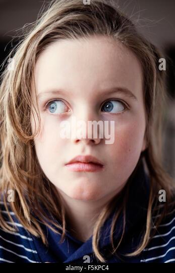 Sweden, Portrait of girl (8-9) - Stock Image