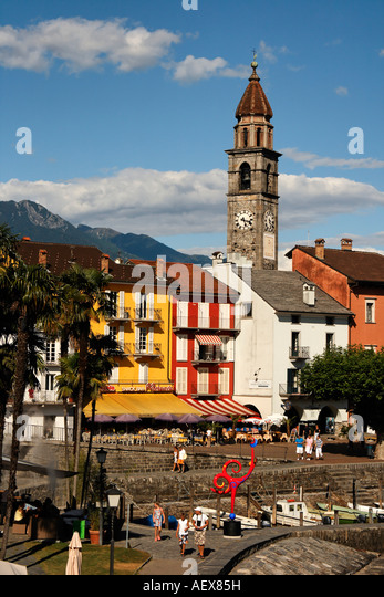 Switzerland Ticino Ascona promenade village church - Stock Image