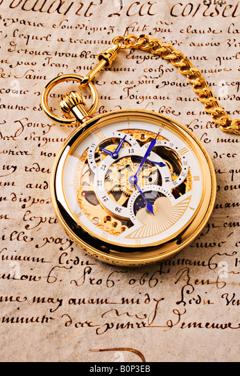 Gold pocket watch - Stock Image