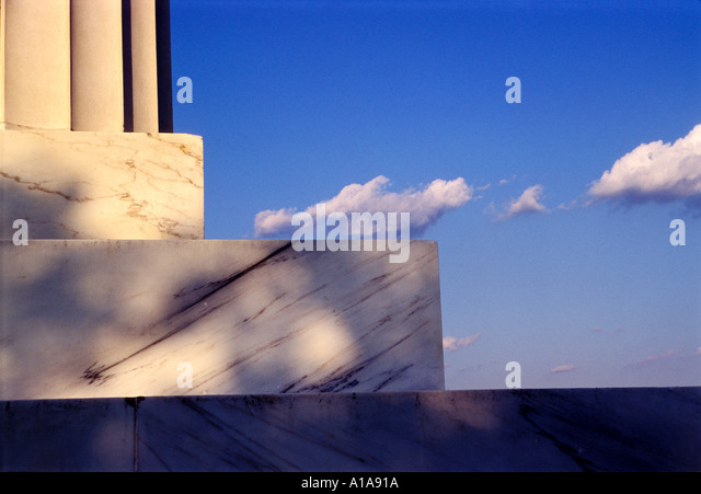 Detail of Lincoln Memorial column, Washington D.C. - Stock Image