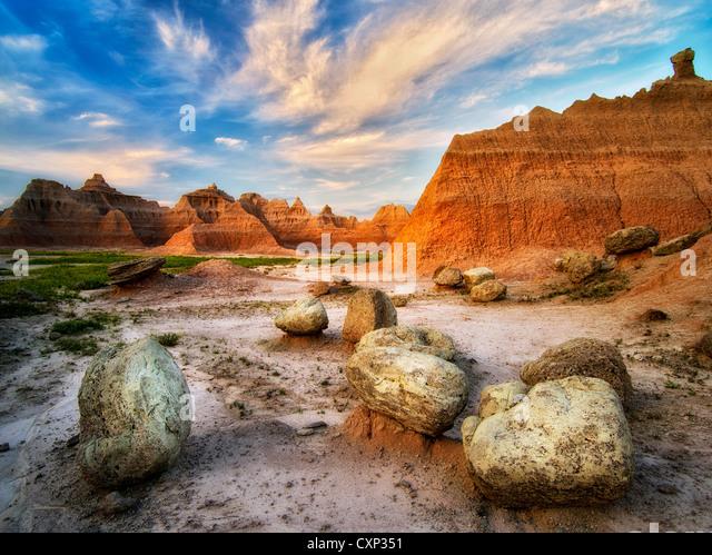 Large boulders and rock formations at sunrise. Badlands National Park, South Dakota. - Stock-Bilder