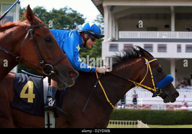 Hoppegarten Germany  city photo : Hoppegarten, Germany, jockey Catherine Daniela Werning in the finish ...