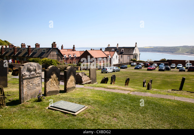The setting of Anne Bronte's grave on Castle Hill overlooking South Bay, Scarborough, North Yorkshire, Yorkshire, - Stock Image