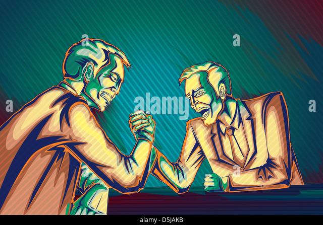 Illustrative image of businessmen arm wrestling representing business war - Stock Image