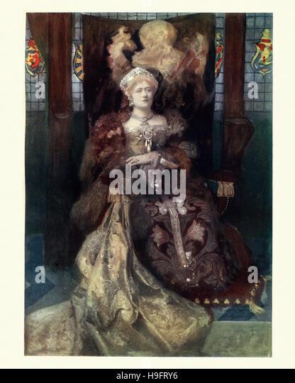 Victorian actress Ellen Terry as William Shakespeare's Queen Katherine of Aragon in his play Henry VIII. - Stock-Bilder