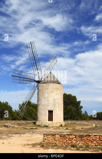 balearic islands windmill wind mills Spain traditional culture - Stock Image