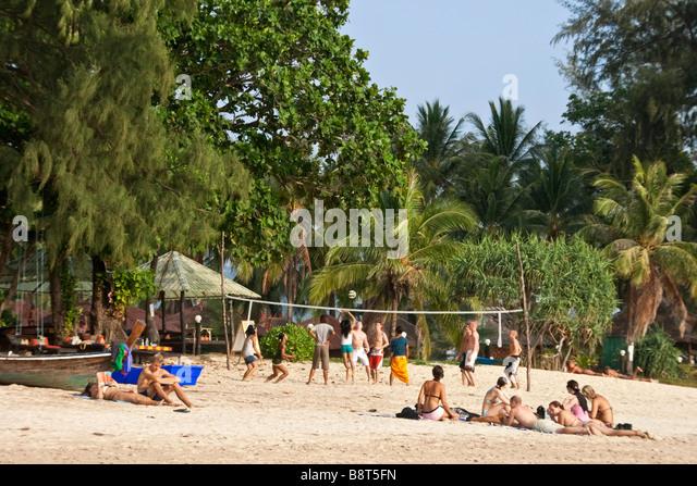 beach life at Long beach beach volley ball Koh Lanta Thailand - Stock Image