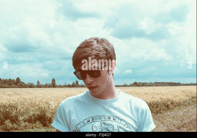 Handsome young hipster man - Stock Image