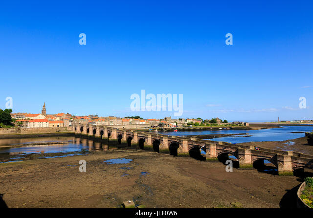 The Old Bridge with the tide out. Berwick upon Tweed. Englands most northerly town. - Stock Image