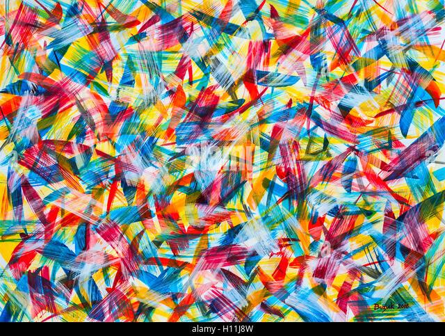 """Acrylic painting """"Flight"""" by Ed Buziak - France. - Stock Image"""