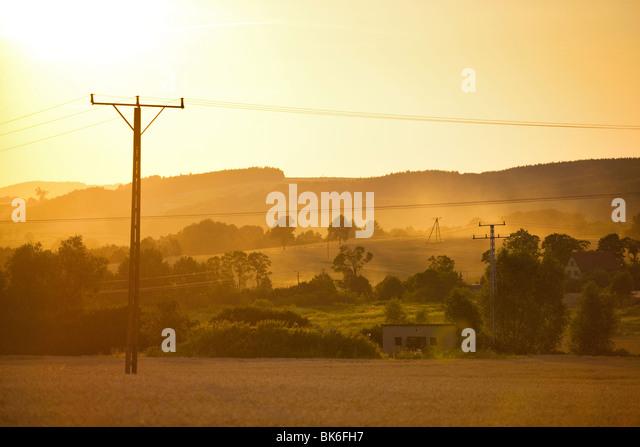 Summer sunset landscape in Poland. - Stock Image