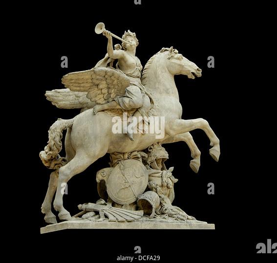 The (King's) fame riding Pegasus. - Stock Image