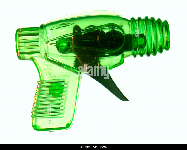 graphic illustrations of a toy gun for children - Stock Image