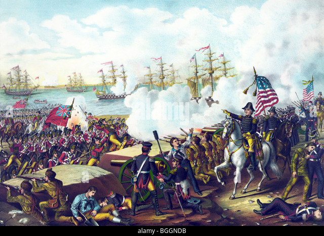 Print depicting the final day of the Battle of New Orleans on January 8 1815 in which US forces defeated the British - Stock Image
