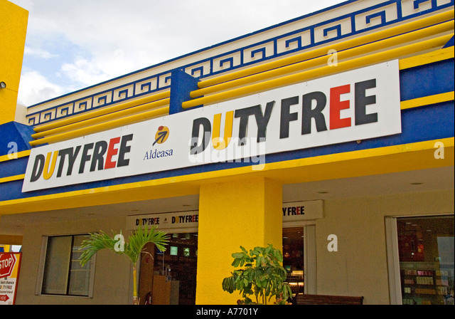 Mexico Cozumel San Miguel Duty Free Shop sign - Stock Image
