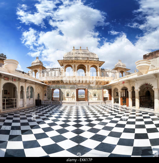 City Palace museum with surreal chess floor in Udaipur, Rajasthan, India - Stock-Bilder