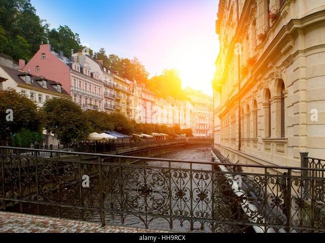 Karlovy Vary (Carlsbad), Tepla river. Czech Republic. - Stock-Bilder