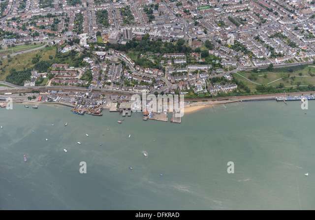 Aerial photograph of Leigh-On-Sea sea front - Stock Image