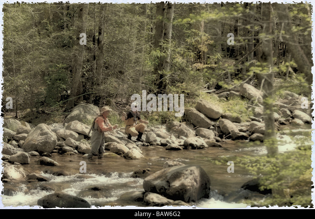 Polaroid Treatment of Fly Fishermen Fishing on Middle Fork of Little Pigeon River in Greenbrier Area of  Great Smoky - Stock Image
