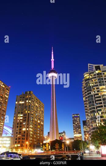 CN tower at night , Toronto, Canada - Stock Image