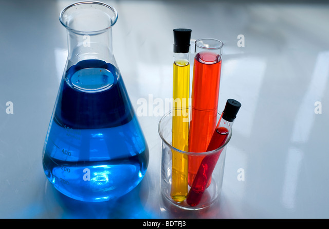 collection of Laboratory Equipment including beakers and flasks - Stock Image