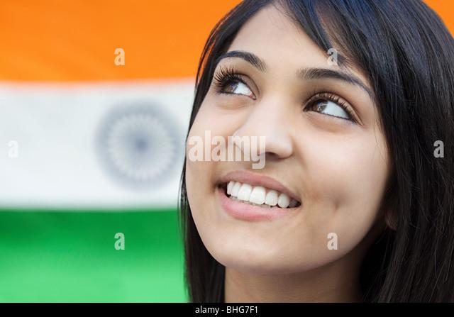 Teenage girl and indian flag - Stock Image