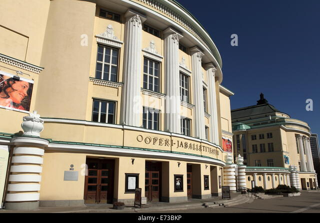 The facade of the Estonian National Opera house, opened in 1913 and rebuilt following Soviet destruction, in Tallinn, - Stock Image