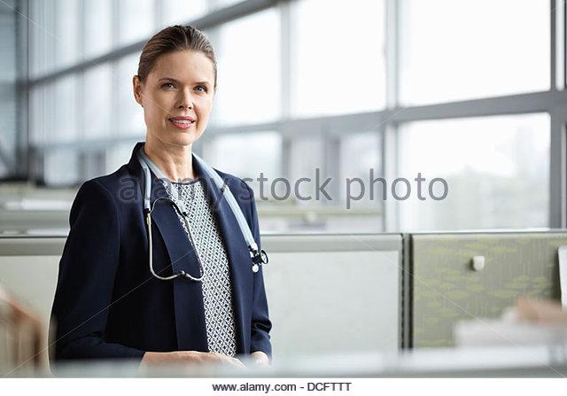 Portrait of beautiful female doctor - Stock Image