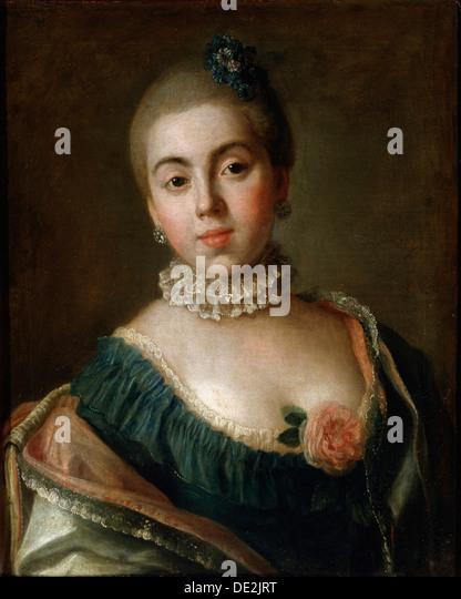 'Portrait of Countess Anna Golitsyna, Baroness Stroganova', 1759.  Artist: Pietro Rotari - Stock Image