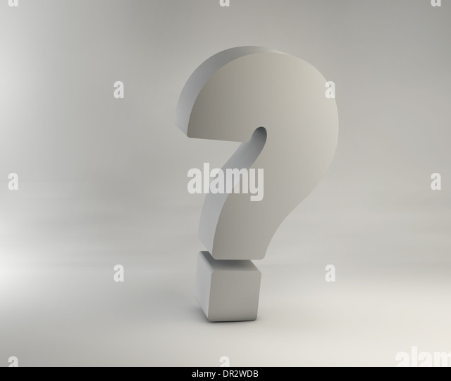 Picture of giant chrome question mark - Stock Image