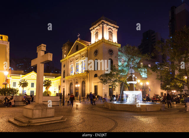 old portuguese colonial church in square of macau macao china - Stock Image