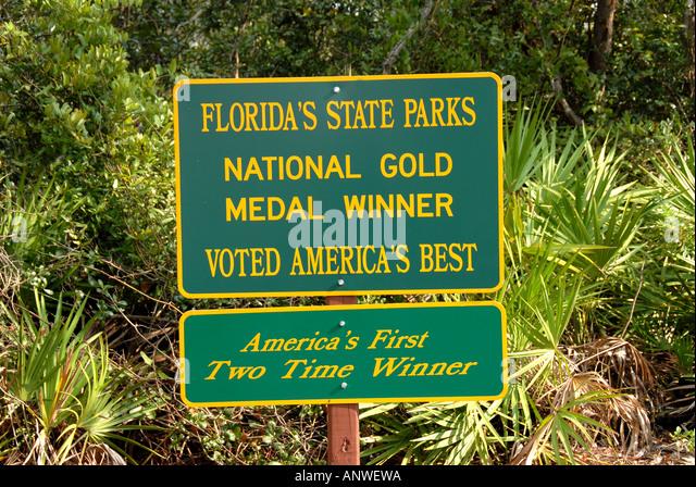 Florida State Parks Gold Winner sign awards recognition - Stock Image