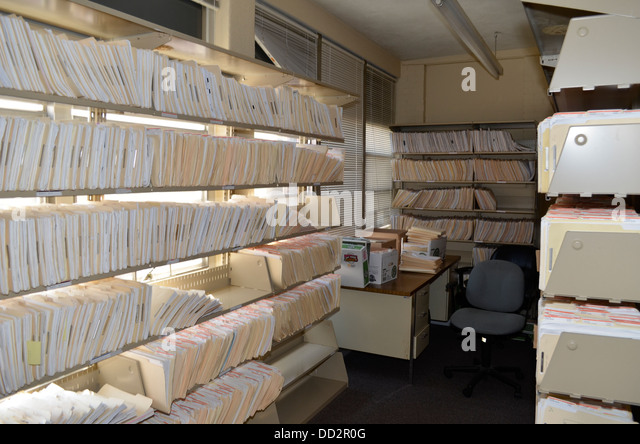 Inmate files in prison contains comprehensive information about each inmate. - Stock Image