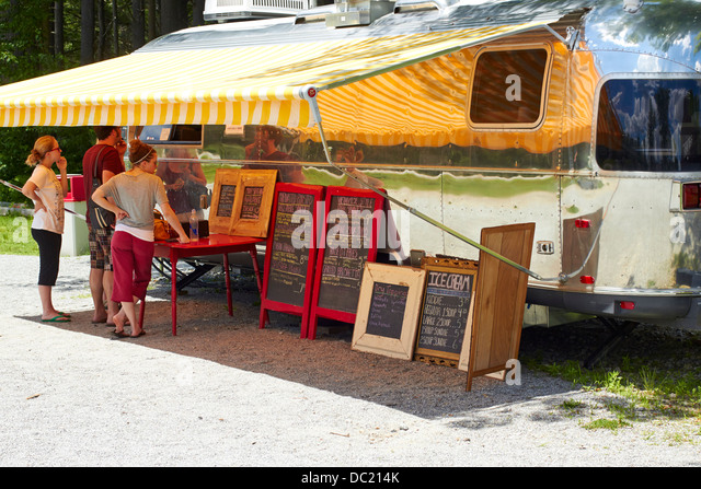 Roadside food truck near Henniker New Hampshire New England USA - Stock Image