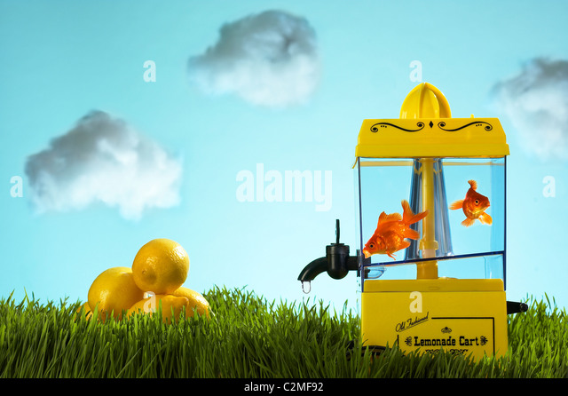 Graphic images with lemonade maker containing fish instead. - Stock Image