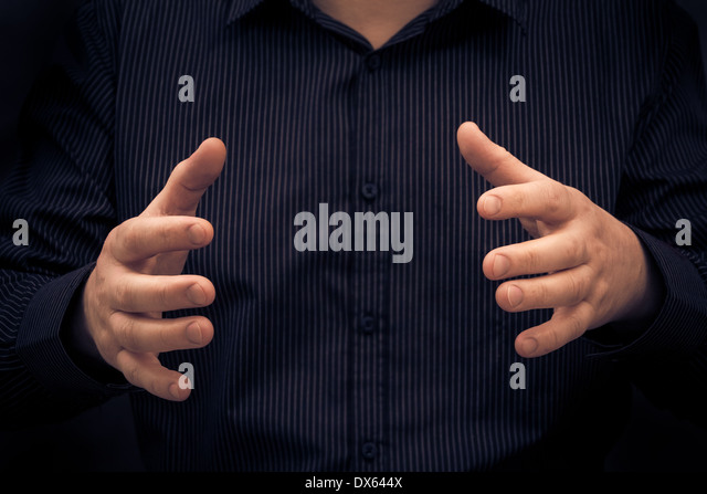 Man gesture or showing size of something - Stock Image