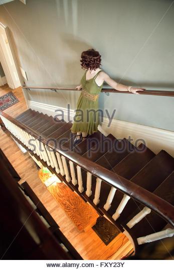 Woman in vintage 1940s dress - Stock-Bilder