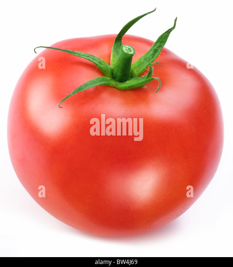 Ripe red tomato. Macro shot studio isolated. - Stock Image