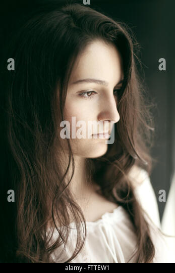 Young brunette woman - Stock Image