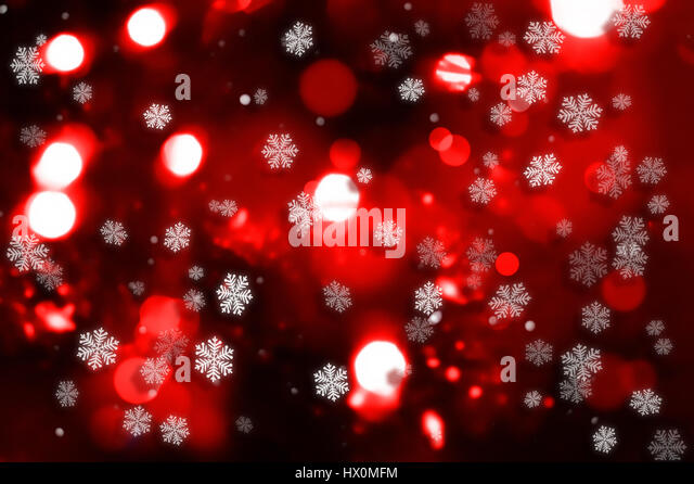 Decorative Christmas background with snowflake and bokeh lights - Stock Image
